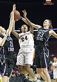 by: Miles Vance AIMING HIGH — Beaverton junior guard Alexis Montgomery (here at the 2011 Class 6A state tournament) and her teammates are aiming for a Metro League title and another state tournament berth in 2012.