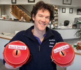 by: Jim Clark Veterinarian Dr. Chris Holenstein is helping The Salvation Army Red Kettle Campaign via donations that will determine whether he will shave his head or not. Two buckets — 'Do,' 'Don't' — are located in the front lobby of the Gresham Animal Hospital.