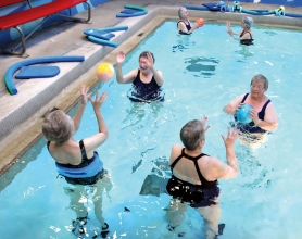 by: Jim Clark A group of women enjoy a water exercise class at Mt. Hood Community College's Aquatic Center on Dec. 13.