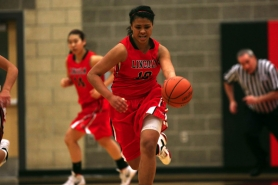 by: CHRISTOPHER ONSTOTT Lincoln's Mele Aisea heads up the court in a 59-50 loss last week at Clackamas.