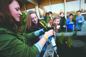by: Christopher Onstott Cedar Park eighth-graders Sam Waldman, Leah Sichel and Elizabeth Zegzula plant native grasses in a rain garden to help improve water quality in nearby Johnson Creek and Commonwealth Lake.