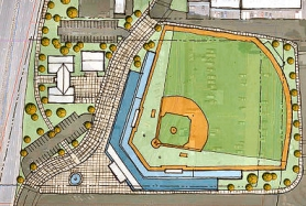 by: Illustration by Ankrom Moisan The proposed baseball facility is depicted overlaid on the current parking lot.