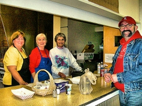 by: Rita A. Leonard A cheerful Kitchen Crew provided smiles with light refreshments for St. Agatha's visitors. From left: Lisa Quinn, Jan Hainley, Genevieve Hainley, and Scott Lewin.