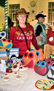 "by: Rita A. Leonard Westmoreland mom Michelle Easby sewed creative felt toys for her ""The Fancy Farmer"" booth."