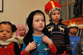 by: VERN UYETAKE From left are Lilie Pruden, Ella Howard, Colin Lyman, Jagan Shean and Jack Tansey of Christ Church Preschool celebrating La Pasada, a re-enactment of Joseph and Mary's search for lodgings in Bethlehem.
