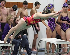 by: Miles Vance TAKING FLIGHT — Southridge's Karen Huan launches into her leg of the 400-yard freestyle relay against Sunset on Dec. 15.