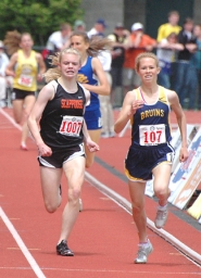 by: John Brewington CHARLIE DAVIDSON (left) was a freshman last spring when she won the 4A state 1,500-meter relay.