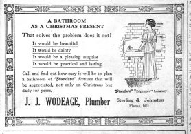 by: File photo A bathroom would make a good Christmas present, according to this ad in the 1911 Outlook.