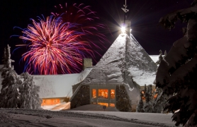 by: photo courtesy of TIMBERLINE LODGE Timberline fired off fireworks during the 2011 New Year's celebration.