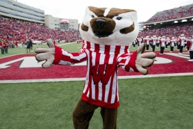by: UNIVERSITY OF WISCONSIN Bucky Badger represents the University of Wisconsin.