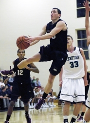 by: DAN BROOD FLOATING ON AIR — Sherwood junior wing Jordan Skoubo goes to the basket during Tuesday's game at Century. Skoubo scored a game-high 24 points.