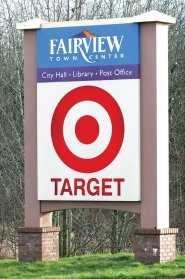 by: Jim Clark The Fairview city sign, which included the sign for Target, got some ribbing in 2002. It still stands today on the corner of Halsey Street and Fairview Parkway.