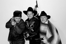 "by: SUBMITTED PHOTO From left, Brad Fortier, Scott Engdahl and Chris Thompson star in Thompson's ""Cowboy Little's Big Wild West Show."" The show opens Jan. 6 at the Funhouse Lounge in Portland and plays the first Friday of each month."