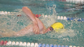 by: John Brewington SWIMMING HARD—St. Helens' Andrew Collson won the 50 freestyle during last week's meet at Parkrose. Both the St. Helens boys and girls recorded team wins.