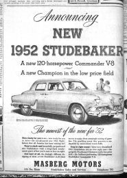 by: from The Outlook Archives A 1952 Studebaker from Fornasberg Motors.