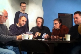 "by: Kelly Lazenby Felix Ungar, played by Justin Lazenby, standing, shows disdain at the poker players' unkempt and disheveled table in Neil Simon's ""The Odd Couple,"" to be staged Feb.2-19 at Nutz-n-Boltz Theater in Boring. Seated are, from left, Jim Baumgardner, Dan Wolfe, Steve Miller, Scott Caster and Felix's roommate and nemesis, Oscar Madison, portrayed by Jared McClain."