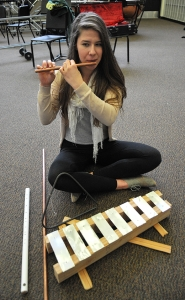 by: VERN UYETAKE Senior Hannah Cutts created a number of instruments for her project.