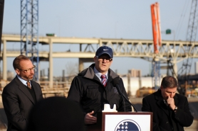 by: Courtesy of Portland Bureau of Transportation Portland Mayor Sam Adams and Federal Transit Administrator Peter Rogoff toured the newly completed Southwest Moody Avenue reconstruction project on Thursday morning.