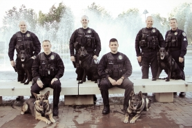 by: Submitted photo The Beaverton Police Department's K-9 Unit includes (from left to right) Officer Steve Anderson and his K-9 partner Alex, Officer Ken Magnus with Jago, Officer Rob Wolfe with Enzo, Officer Tony Bastinelli with Kahz, Officer Mike Bewersdorff with Barak and Sgt. Mark Hevland.