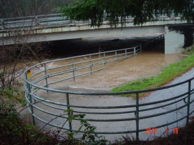 by: Courtesy of City of Gresham Overflow from Johnson Creek closed a section of the Springwater Trail Thursday afternoon at Hogan Bridge between Southeast Hogan Road and Ambleside Drive.