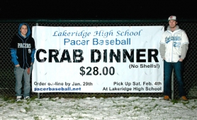 "by: SUBMITTED PHOTO Help support Pacer baseball programs by participating in the annual ""Catch of the Day"" all take-out crab dinner event. Orders placed by Jan. 29 can be picked up on Feb. 4, in time for enjoying while you watch the Super Bowl the next day. Pictured here are varsity baseball team members Cam Wood, left and Todd King."