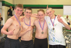 by: John Brewington ON TO STATE—The St. Helens' High 200 Medley Relay (above) team will move on to the state meet this Friday and Saturday at Mt. Hood Community College. Members of the team include (from left) Devon Brady, Austin Sandford, Jonathan Prevish, and Luke Haresnape.