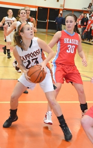 by: John Brewington CONTROL—Scappoose's Lacy Updike looks for a shot in the paint during Friday's game with Seaside.