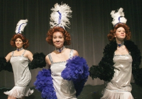 "by: JIM CLARK Joelle Morris, left, is ""Lola,""  Lara Horine is ""Roxie"" and Cajsa Strommer is ""Stella"" in Gresham High School's production of ""What Dies in Vegas, Stays in  Vegas."""