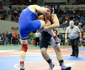 by: Chase Allgood Banks senior Bubba Brown wrestles Beau Grauf of Sutherlin on Saturday in the 195-pound semifinals at the Class 4A state wrestling championships in Portland. Brown lost the match, but wrestled his way back through the consolation bracket to a fifth-place finish.