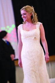 by: Beth Pulito DRESSED FOR THE BEST — Melissa Hughes steps out at last year's bridal  fashion show.