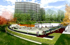 by: Courtesy of PPR A rendering shows The Fields Park that will begin construction Tuesday in the Pearl District.