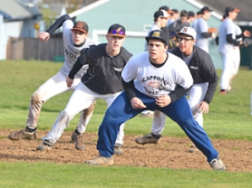 by: John Brewington BASE RUNNING—Scappoose baseball players try a little base path running during practice last week. Players running here are (from left) Spencer Thorsen, Nolan Lohman, Devin Ray (up front) and Alex Ruiz.