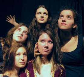 "by: SUBMITTED PHOTO The Acting Club opens ""MacBeth"" tomorrow in the LOHS multi purpose room near the pool on campus. Lady MacBeth, played by Allegra Wolff, is surrounded by witches, played by (clockwise from top) Voni Kengla, Isabel Skene, Hannah Boe and Caitlyn Reagan."