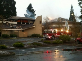 by: Jaime Valdez Firefighters battled a three-alarm blaze at Tualatin's Living Savior Lutheran Church and Preschool on Southwest Sagert Street early Monday morning.