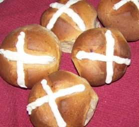 by: SUBMITTED PHOTO Hot cross buns are traditionally served at Easter, along with jelly bird eggs and chocolate bunnies.