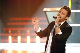 by: NBC Justin Hopkins performs on The Voice, Monday