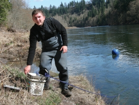 by: Jim Clark Mike Morris is lead field biologist for the Cowlitz Indian tribe.