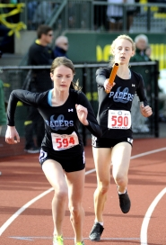 by: MATTHEW SHERMAN Kelly O'Neill, left, and Madi Greenleaf return to the Pacers this year and will help make up a 4x400 relay team that could be the best in the state.
