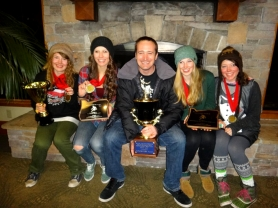 by: SUBMITTED PHOTO From left, Taylor Penner-Ash, Tiffany Puterbaugh, coach Casey Sobolewski, Evy Borkan and Ellie Bartlett hold the trophies the Riverdale girls snowboarding team recently won at Mt. Bachelor.