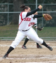 by: Kris Anderson Mt. Hood pitcher Ashley Devincenzi makes her move toward the plate during the Saints 9-8 extra-inning win over Lower Columbia on Tuesday.