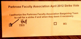 by: Courtesy of Parkrose Faculty Association A photo of a strike ballot was posted on the Parkrose Faculty Association Facebook page. The faculty voted to allow a strike.