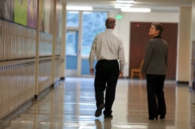 by: Christopher Onstott Portland Public School Superintendent Carole Smith walked the halls of Jackson Middle School last fall with Principal John Ferraro. Smith's plan to cut $10 million from the PPS budget could mean furloughs for the district teachers.