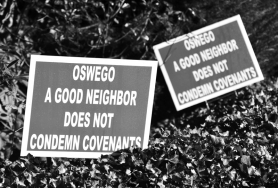 by: Vern Uyetake Signs like these in West Linn show how many Robinwood residents feel about Lake Oswego's proposed water plant expansion in their neighborhood.
