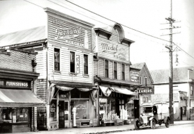 by: Courtesy of Brooklyn Historical Society, A photograph of what was then the Brooklyn town center, at the intersection of Milwaukie Avenue and Powell Boulevard, taken prior to the completion of the Ross Island Bridge in 1926. 