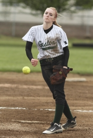 by: Chase Allgood, Gaston freshman Haylie Davis delivers a pitch during last Wednesday's 15-5 win over Vernonia in a Northwest League softball game.