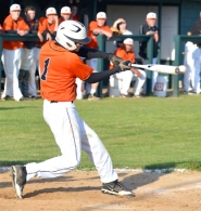 by: John Brewington, Indians top YC—Scappoose's Hunter Hoyt banged out a hit with this swing during Monday's game with Yamhill-Carlton. Scappoose remains tied with Astoria for the Cowapa League title, but with wins in two of the three meetings holds the tiebreaker.
