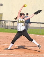 by: John Brewington, TOUGH PITCHER—St. Helens' Mariah Mulcahy threw a good game in a 1-0 loss to Rex Putnam on Monday.
