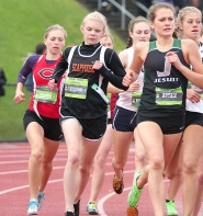 by: Miles Vance, TOUGH RUNNING—Scappoose sophomore Charlie Davidson ran with some of the best in the Northwest Saturday at the Nike/Jesuit Twilight Meet. While she didn't have her best time, Coach David Harley said she learned a lot about running in a talented group.