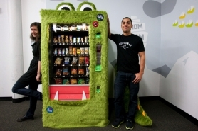 by: Christopher Onstott, Mette Hornung Rankin and Mark Jacobs have created a new, healthy snack food vending machine named the Goodie Monster.