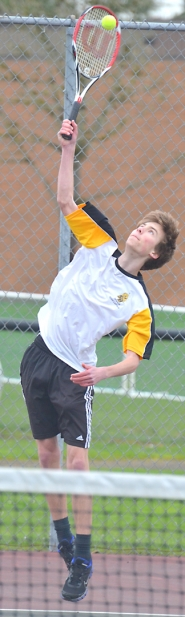 by: John Brewington, Cole Charbonneau came close to winning the NWOC district tennis tournament last week.